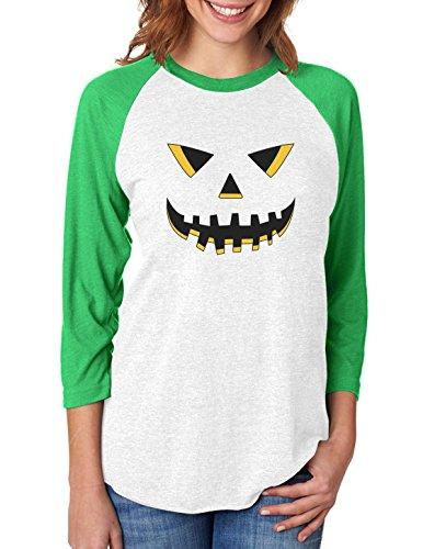 Jack O' Lantern Smiling Pumpkin Halloween 3/4 Women Sleeve Baseball Jersey Shirt X-Large Green/White