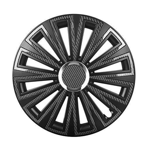 Saferide   Universal Tapacubos Bicolor Carbon Look Negro–Tapacubos (4Unidades). Clásico Llantas Aspecto–Tapacubos Tapacubos felgenabdeckung Llanta Tapas radabdeckungen
