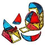 Conjunto de 28 piezas con forma de domo Playmags: ahora con imanes más fuertes, resistentes y duraderos, con baldosas de colores vivos y transparentes. , color/modelo surtido