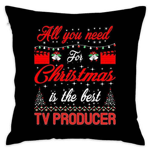 All You Need for Christmas is Best Tv Producer Cotton Throw Pillow Cover with Invisible Zipper for Bed Sofa Cushion Pillowcases for Home Bedding 18x18 inch 45x45cm