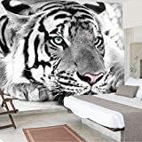 ZSZHI Wall Mural 3D Wallpaper Peel and Stick Christmas Decor Self Adhesive Removable - Black and White Animals Tiger Painting - Wallpaper Easy to Use for TV and Sofa Background Walls