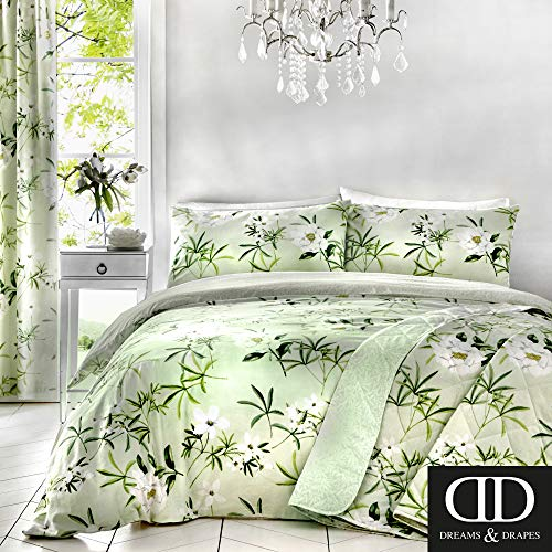 Dreams & Drapes Florence Parure de lit, 52% Polyester, 48% Coton, Green, Double