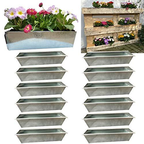 Hossi's Wholesale Blumenkasten 12er Set, Blumenkästen passend für Europaletten, Pflanzkasten, Palettenblumenkasten 38x12x9cm