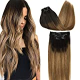 GOO GOO Remy Hair Extensions Clip in Human Hair Extensions Ombre Dark Brown Fading to Light Brown and Ash Blonde Natural Clip in Extensions Balayage Hair Extensions 7pcs 120g 16 inch