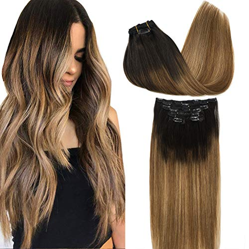 GOO GOO Human Hair Extensions Clip in Remy Hair Extensions Ombre Dark Brown Fading to Chestnut Brown and Dirty Blonde Ombre Clip in Extensions Balayage Hair Extensions 7pcs 120g 18 inch