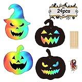 LAITER 24 Hojas Papel para Rascar de Calabaza para Halloween Scratch Art con Lápiz de Madera y...