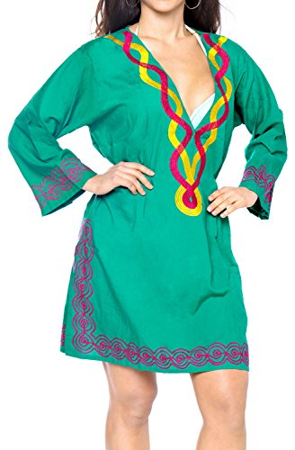 LA LEELA verschleiern Damen Tunika Bestickt Badeanzug Kleid mit Langen �rmeln Baden gr�n