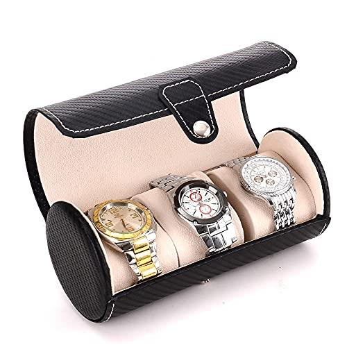 Caja de reloj Organizador de rollo de reloj portátil de viaje con 3 ranuras Colección de organizador de relojes Vitrina de reloj de cuero PU de fibra de carbono para regalo de Navidad para hombres