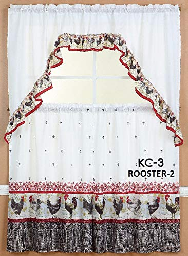 """Diamond Home Linen 3PC Kitchen Curtain Set, 2 Tiers (30"""" X 36"""" Each Tier) & 1 Swag Valance (60"""" X 36"""") (Rooster - 2)"""