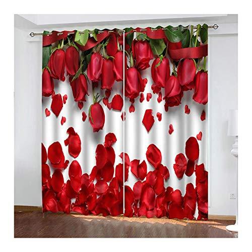 Knbob Polyester Vorhänge Rot Rosa Blumen Vorhang Verdunkelung Thermo Größe 264x214CM