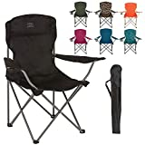 Highlander Folding Camp Chair ― Lightweight & Durable Outdoor Seat ― Perfect for Camping, Festivals, Garden, Caravan Trips, Fishing, Beach, BBQs (Black)