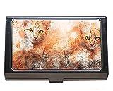 Caja profesional de la tarjeta de visita, portatarjetas del acero inoxidable del arte de la pintura del gato del animal doméstico