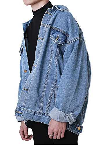 Mens Oversized Button Down Trucker Blue Denim Jacket