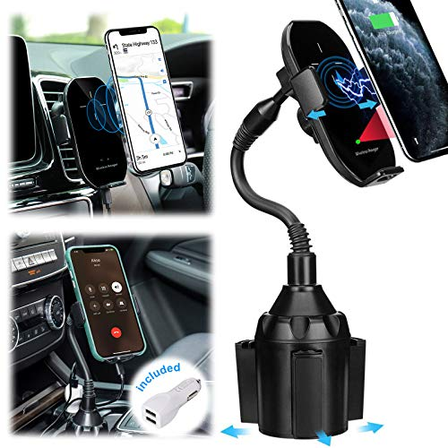 Wireless Car Charger TOOVREN Phone Mount Auto Clamping Fast Qi iPhone Car Charger Air Vent/Cup Holder for Car 10W Charging for iPhone 12/11 Pro Max/X/XR/8/7Plus,Samsung Note10+/s9,Google Pixel