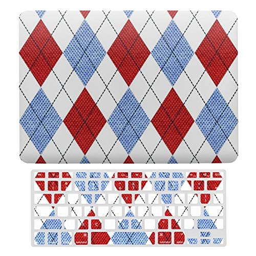 For MacBook Air 13 Case A1466、A1369, Plastic Hard Shell & Keyboard Cover Compatible with MacBook Air 13, Red And Blue Plaid Pattern Laptop Protective Shell Set