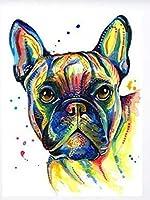 ダイヤモンドの絵画 ダイヤモンド刺繡Diyダイヤモンド絵画クロスステッチキット「カラフルな動物の犬」5D針仕事ダイヤモンド家の装飾