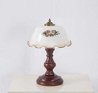 Lámpara de mesa clásica Dormitorio Oficina de Estudio de noche de luz LED retro creativo de la lámpara de escritorio Sólido Sombra Madera Vidrio Iluminación decorativa E27 (Color: Interruptor de botón