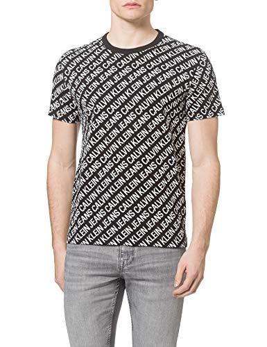 Calvin Klein Jeans AOP Diagonal tee Camiseta, CK Negro, M para Hombre