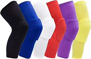 Rodilleras Leoboone Baloncesto de Nido de Abeja anticolisión Almohadillas Largo de Rodilla Deportivo Negro Juegos de imitación