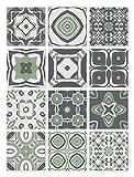 Panorama Azulejos Adhesivos Cocina Baño Pack de 24 Baldosas de 20x20cm - Modelo Hidráulico Verde - Vinilos Cocina Azulejos - Revestimeinto de Paredes - Cenefas Azulejos Adhesivas