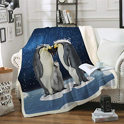 Xzfddn Manta de la familia de pingüinos para camas, protección de animales, 3D Snowing Sherpa manta azul colcha de felpa