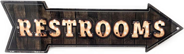 S&B RESTROOMS Vintage Light Bulb & Wood Look Novelty 17x5in Arrow Metal Sign for Wall Made in USA