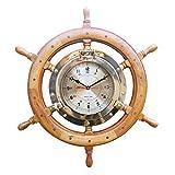 linoows G4949: Noble Ojo de Buey Reloj en Timón, Timón Reloj de Madera Exótica y Latón