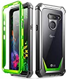 Poetic Full-Body Hybrid Shockproof Bumper Cover, Built-in-Screen Protector, Guardian Series, for LG G8 ThinQ Verizon/AT&T/Sprint/T-Mobile(2019), Green/Clear