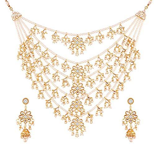 Aheli Collar Kundan de perlas de imitación de varias capas con pendientes colgantes, joyería india Bollywood para mujer