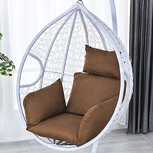Breathable Lumbar Support Chair Cushion Indoor Outdoor Patio Yard Garden - No Chair Colour Egg Hammock Chair Cushion Hanging Basket Seat Cushion Thick Swing Chair Back With Pillow ( Color : Coffee )