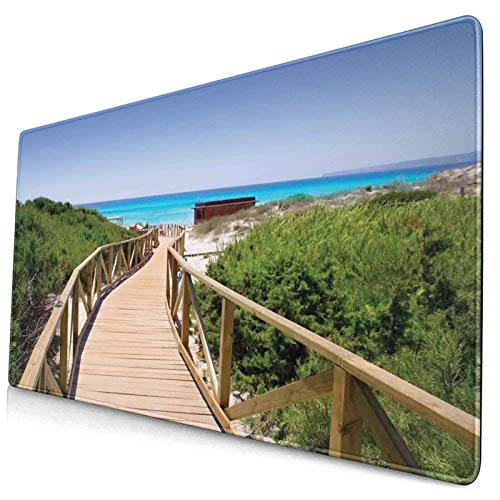 KASABULL Extra Large Gaming Mouse Pad Beach Pathway Over The Woodland In Spain Countryside Cottage Summer Sun 400x750 mm Professional Desk Mats Anti-Slip Rubber Base Keyboard