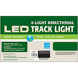 Designers Fountain EVT101227A-35 Kit with 4 Led Track Lights 1920 Lumens, Nickel