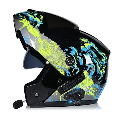 ZWJ Casco Bluetooth Motocicleta Casco De Moto ABS 1500g Aprobado por ECE/Dot Gorra De Seguridad De Cara Completa Cascos Abatibles Casco De Motocross para Adultos Antiniebla Lente Dual S ~ XL