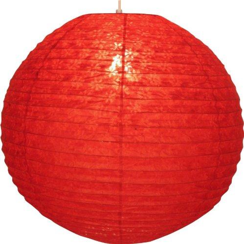 Guru-Shop Runder Lokta Papierlampenschirm, Hängelampe Corona Ø 50 cm - Rot, Lokta-Papier, Asiatische Deckenlampen aus Papier & Stoff