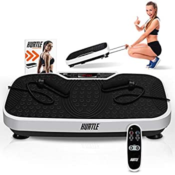 Hurtle Fitness Vibration Platform Machine - Home Gym Whole Body Shaker Exercise Machine Workout Trainer Fast Weight Loss w/ Resistance Bands Easy Carry Wheel Remote Adjustable Speed - HURVBTR36