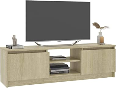 Tidyard TV Cabinet with 2 Doors and 2 Open Compartments Storage Organiser Living Room Entertainment Unit Stand Home Office Fu