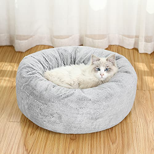EXQ Home Small Dog Bed Cat Bed,Fluffy Round Calming Cat Bed,Machine Washable Anxiety Donut Dog Bed for Small Dogs,21in Grey