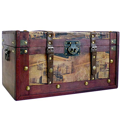Deluxe Vintage Style Wooden Storage Trunk Chest, Dimensions approx 42x25x23 cm - Gift idea for Christmas, Birthday, Toy Box, Tidy Storage