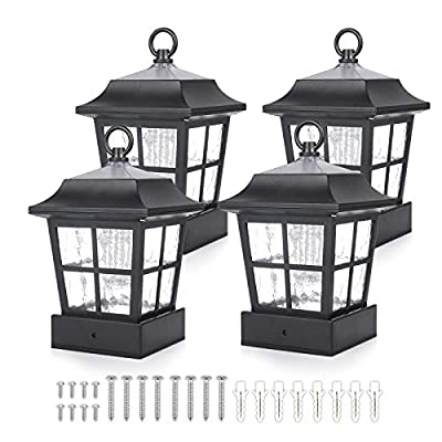 """Solar Fence Post Light Solar Deck Light Solar Post Cap Light Solar Patio Light 15 LUMENS ST130QFX4 fit for 3.7X3.7"""" Regular Fence Posts or with Included Adaptor fit for Bigger Flat Surface"""