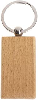 Pack of 10 Blank Wooden Key Chain Personalized EDC Wood Keychain Key Ring Key Tags DIY Keychain Supplies for Craft (Rectangle)