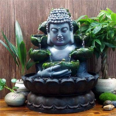SPYXGS Kreative Chinesische Buddha Statuen Wasser Ornamente Zen Brunnen Glück Wohnzimmer Dekoration Sicherheit Feng Shui Handwerk 28X20,5 cm