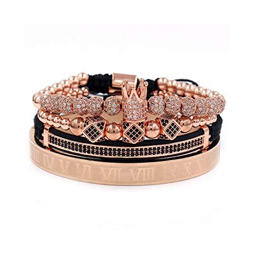1 unid brazaletes para hombres de cobre esmerilado pulsera de cuentas números romanos incrustados Zircon conjunto de pulsera de oro rosa
