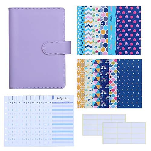 Antner 27pcs A6 PU Leather Binder Budget Cash Envelopes System Budget Planner Organizer, Budget Money Envelopes, Expense Budget Sheets and Labels for Bill Planner, Purple