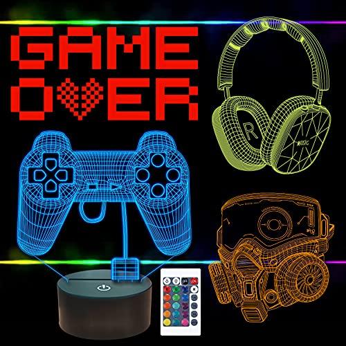 FULLOSUN Pixel Game Over Illusion Lamp, Gamepad 3D Night Light (4 patrones) con control remoto 16 colores cambiantes sala de juegos decoración de auriculares mejor regalo de jugador (GAME1)