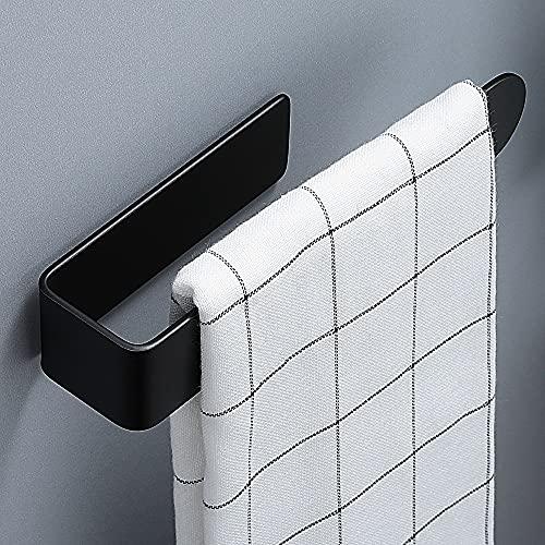 RUICER Toallero para baño, sin agujeros, autoadhesivo, anillo para toallas para baño y cocina, acero inoxidable, color negro
