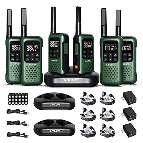 GOCOM G9 IP67 Waterproof Two Way Radios, 2 Way radios Outdoor Adventure NOAA Weather Alert & SOS Emergency Lamp Adult Walkie Talkies Long Range Rechargeable (G9-6 Pack)