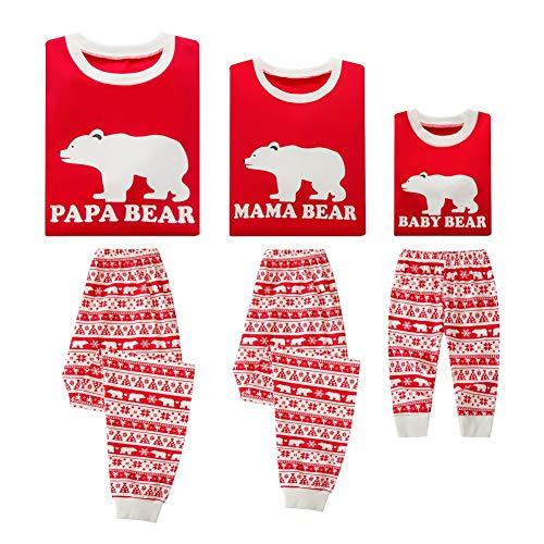 Gyratedream Pyjamas Weihnachten Schlafanzüge Familie Passende Pyjama Sets Damen Herren Kinder Baby Baumwolle Eltern-Kind Nachtwäsche Brief Gedruckt Rot Homewear