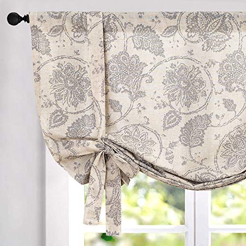 jinchan Tie Up Curtains for Kithcen Living Room Adjustable Tie-up Shade Linen Textured Rod Pocket Medallion Design Jacobean Floral Printed Valance 1 Panel 63 inch Grey