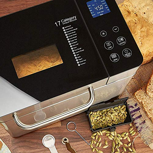 Andrew James Breadmaker with with Gluten-Free & Sourdough Settings | Fresh Bake Digital Bread Maker with 17 Preset Functions & Automatic Ingredients Dispenser | Delay Timer & Keep Warm