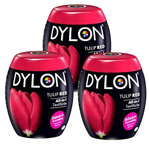 Dylon Tulip Red All-in-1 Textilfarbe (für frische und Intensive Farben) 3 x 350 g